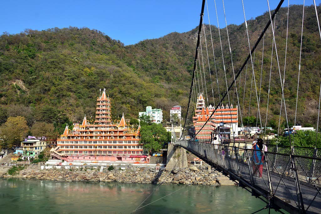 Rishikesh View Across Lakshman Jhula Bridge Over The Ganges Uttarakhand India